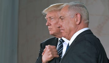 US President Donald Trump and Israel's Prime Minister Benjamin Netanyahu shake hands after delivering a speech at the Israel Museum in Jerusalem. May 23, 2017