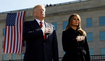 U.S. President Donald Trump and first lady Melania Trump attending the 9/11 observance at the National 9/11 Pentagon Memorial in Arlington, Virginia, U.S., September 11, 2017.