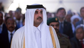 A photo provided by the Qatar News Agency shows Emir Sheikh Tamim bin Hamad Al-Thani  attending the inauguration of the new Hamad Port in Doha on September 5, 2017.