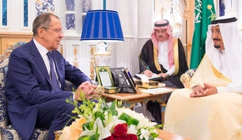 Russian Foreign Minister Sergey Lavrov speaking with Saudi King Salman in Jeddah, September 10, 2017.