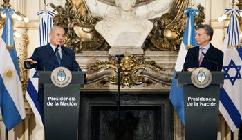 Prime Minister Benjamin Netanyahu, left, speaks next to Argentine President Mauricio Macri during a joint press conference at the Presidential Palace in Buenos Aires, Argentina, on September 12, 2017.