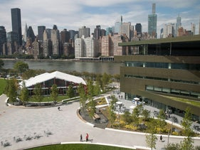 A view of the campus and the main academic building (R), the Bloomberg Center, on the new campus of Cornell Tech on Roosevelt Island, September 13, 2017 in New York City
