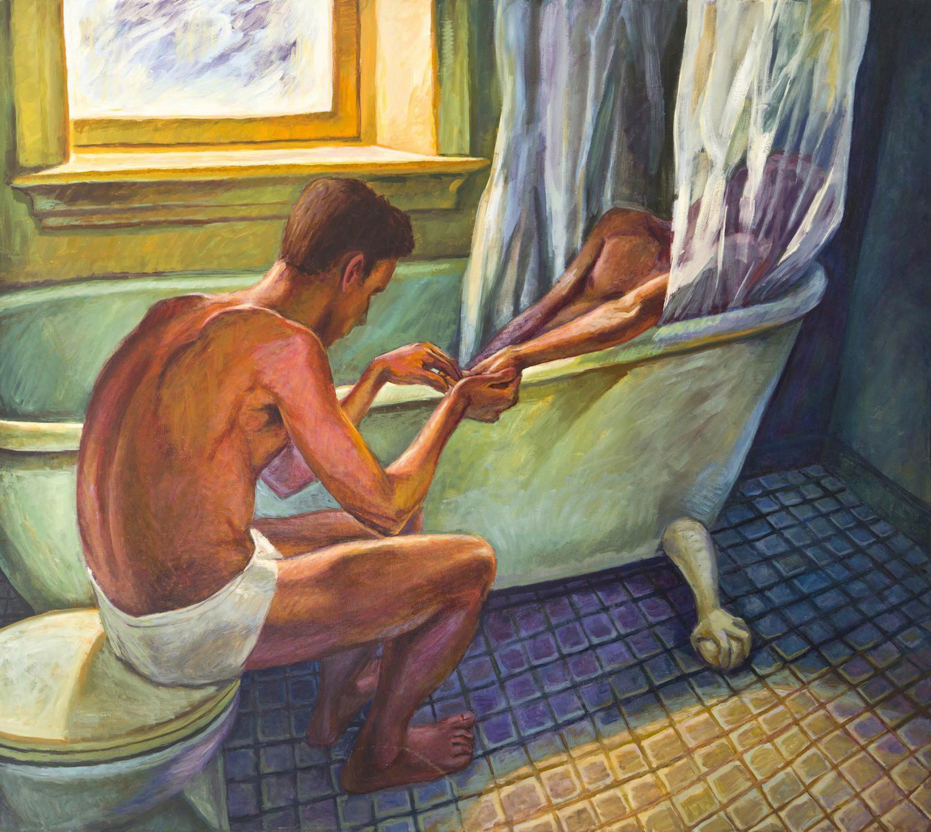 """Bath Curtain,"" Hugh Steers' powerful work from 1992. Depicts both a tender domestic moment and a political critique."