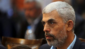 Hamas leader in Gaza, Yahya Sinwar, attends a news conference in Gaza City, August 28, 2017.