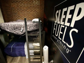 """A """"nap station"""" next to the Boston Red Sox clubhouse at Fenway Park in Boston."""