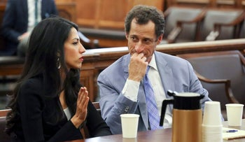 Anthony Weiner and Huma Abedin appear in court in New York on Wednesday September 13, 2017.