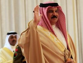Bahrain's King Hamad bin Isa al-Khalifa at a ceremony in Safria palace in Sakhir, south of Manama, Bahrain, March 20, 2012.