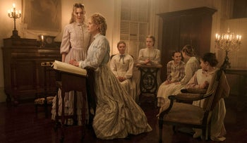 Elle Fanning, Nicole Kidman, Kirsten Dunst, Angourie Rice, Oona Laurence, Emma Howard and Addison Riecke in a scene from 'The Beguiled.'