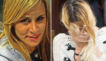 Hili Sobol (right)in court, and her murdered twin sister, Shiri (left).