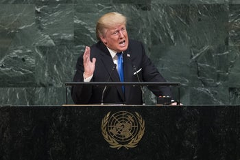 U.S. President Donald Trump addresses the United Nations General Assembly at UN headquarters, September 19, 2017.