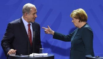 German Chancellor Angela Merkel with Prime Minister Benjamin Netanyahu in Berlin, October 2015.