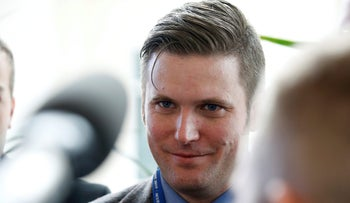 FILE PHOTO: Richard Spencer, a leader and spokesperson for the so-called ?alt-right? movement, speaks to the media at the Conservative Political Action Conference (CPAC) in National Harbor, Maryland, U.S., February 23, 2017