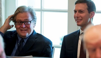 FILE - In this June 12, 2017 file photo, White House Senior Advisers Steve Bannon, left, and Adviser Jared Kushner attend a Cabinet meeting