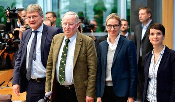 Leaders of Germany's nationalist Alternative for Germany (AfD) party in Berlin, September 25, 2017