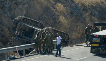 The scene of accident in  the Golan Heights, Sept. 27, 2017.