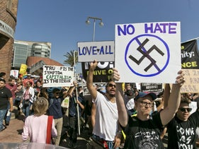 A demonstration in Los Angeles against hatred and racism on August 13, the day after a white supremacist rally spiraled into violence in Charlottesville, Virginia.