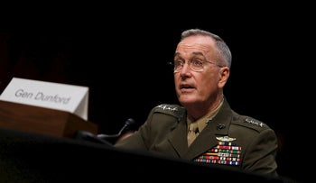 General Joseph Dunford, Chairman of the Joint Chiefs of Staff, testifies before the Senate Armed Services Committee on Capitol Hill in Washington, U.S. September 26, 2017