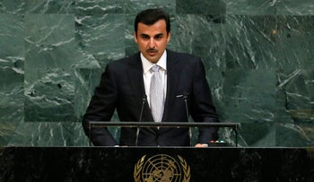 Qatar Emir Sheikh Tamim bin Hamad al-Thani addresses the 72nd United Nations General Assembly at UN headquarters in New York, September 19, 2017.