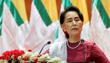 Myanmar State Counselor Aung San Suu Kyi delivers a speech to the nation over the Rakhine and Rohingya situation, in Naypyitaw, Myanmar September 19, 2017