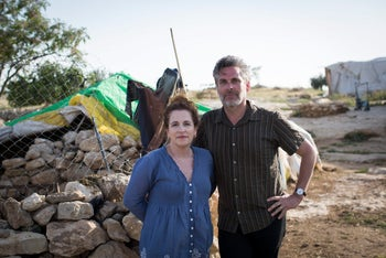 Michael Chabon and Ayelet Waldman on a tour in Susya in the South Hebron Hills of the West Bank