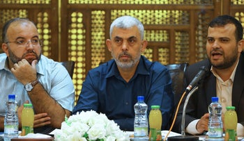 Yahya Sinwar (center), Hamas chief in Gaza, attends a meeting with Hamas youth in Gaza City, September 28, 2017.