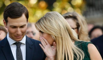Ivanka Trump talks with husband and fellow senior adviser Jared Kushner prior to a moment of silence in remembrance of 9/11, Washington, U.S., September 11, 2017.
