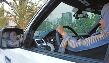 A Saudi woman driving in the city of Jeddah, September 27, 2017.