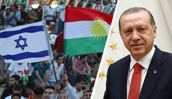 A Kurdish man holds an Israeli and Kurdish flag during a rally to show support for the independence referendum, Erbil, Iraq, September 16, 2017, and urkey's President Recep Tayyip Erdogan addresses a police academy graduation ceremony at his palace in Ankara, Turkey, Thursday, Sept. 28, 2017.