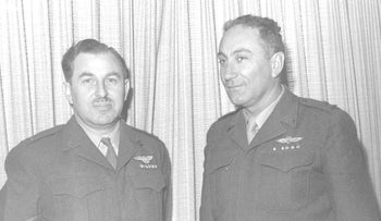 Chaim Herzog, left, and Meir Amit, then major generals in the Israel Defense Forces, 1962.