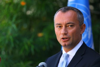 Nikolay Mladenov, United Nations Special Coordinator for the Middle East Peace Process, speaks during a press conference at the UNESCO headquarters in Gaza City. September 25, 2017