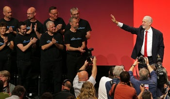 Labour party leader Jeremy Corbyn acknowledging the applause from delegates after delivering a speech on the final day of the Labour Party Conference in Brighton on September 27, 2017.
