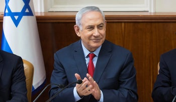 Israeli Prime Minister Benjamin Netanyahu attends the weekly cabinet meeting at his office in Jerusalem October 1, 2017.