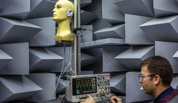 A scientist uses an oscilloscope during tests in sound perception in a sound proof laboratory at the Noveto Systems Ltd. office in Petach Tikva, Israel, on Tuesday, Feb. 14, 2017. The system, which uses 3D sensors and proprietary software, tracks the user's position and pinpoints an individual to dynamically focus audio beams to follow the user's ears. Photographer: Rina Castelnuovo/Bloomberg