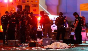 The aftermath of a mass shooting on the Las Vegas Strip on Sunday, Oct. 1, 2017