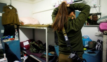 A female soldier in the women's living quarters at a military base in the Golan Heights, Israel, March 1, 2017.