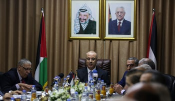 Palestinian Prime Minister Rami Hamdallah chairs a reconciliation government cabinet meeting in Gaza  on Tuesday.
