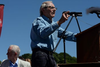 Film director Ken Loach speaks at the Durham Miners' Gala, in Durham, Britain July 8th 2017.