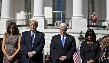 U.S. First Lady Melania Trump, President Donald Trump, Vice President Pence and U.S. Second Lady Karen Pence on the South Lawn of the White House in Washington, D.C., Oct. 2, 2017.