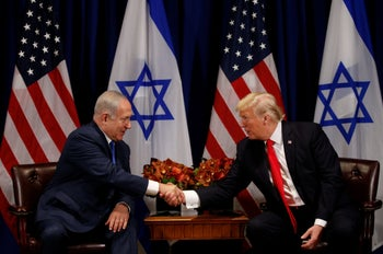 U.S. President Donald Trump meets with Prime Minister Benjamin Netanyahu in New York, U.S., September 18, 2017.