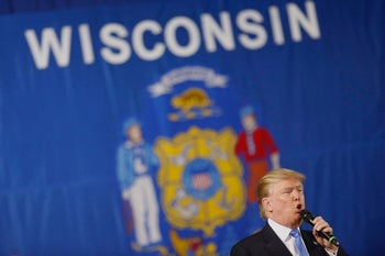 FILE PHOTO: Donald Trump, then the 2016 Republican presidential candidate, speaks during a campaign event in Janesville, Wisconsin, U.S., on Tuesday, March 29, 2016.