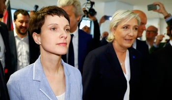 Former Alternative for Germany (AfD) leader Frauke Petry and France's National Front leader Marine Le Pen (R), January, 2017.