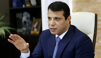 File photo: Mohammed Dahlan, a former Fatah security chief, gestures in his office in Abu Dhabi, United Arab Emirates October 18, 2016.