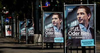 Election campaign posters of the Austrian People's Party top candidate, Sebastian Kurz, Vienna, October 5, 2017.