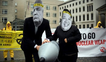 International campaign to abolish Nuclear Weapons (ICAN) activists demonstrate in front of the US embassy in Berlin, September 13, 2017.