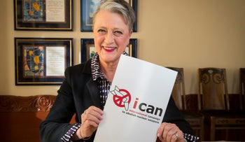 Berit Reiss-Andersen, Chairman of the Norwegian Nobel Committee, poses with the logo of ICAN, International Campaign to Abolish Nuclear Weapons, laureate of the Nobel Peace Prize 2017, in Oslo, Norway, October 6, 2017.