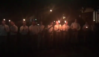 White nationalists march in Charlottesville, Virginia, October 7, 2017.