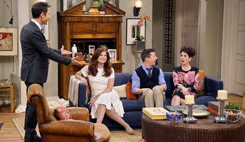"A scene from season nine of ""Will & Grace,"" with, from left, Eric McCormack, Debra Messing, Sean Hayes and Megan Mullally."