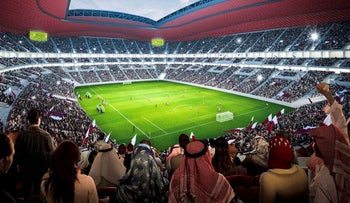 This computer image released by Qatar's Supreme Committee for Delivery & Legacy of an artist's impression shows soccer fans in the Al Bayt Stadium, Qatar