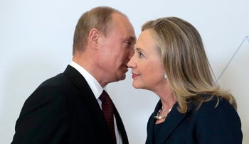 File: Russian President Vladimir Putin meets with then-Secretary of State Hillary Clinton in Vladivostok, Russia, 2012
