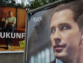 Election campaign posters of Austrian Chancellor Christian Kern of theSocial Democratic Party of Austria (SPOe), and Foreign Minister Sebastian Kurz, of the Austrian People's Party (OeVP). Vienna, Austria. October 8, 2017
